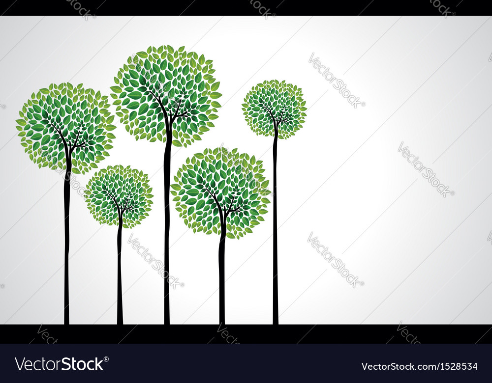 Beautiful green trees vector | Price: 1 Credit (USD $1)