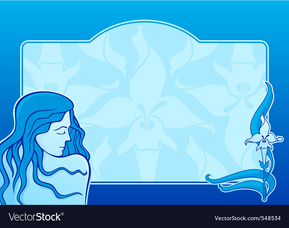 Blue spa girl horizontal vector | Price: 1 Credit (USD $1)