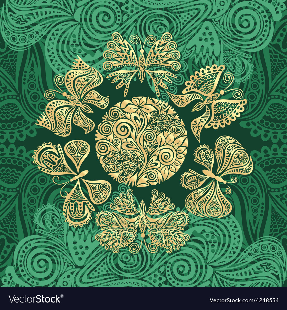 Butterflies gold and green vector | Price: 1 Credit (USD $1)