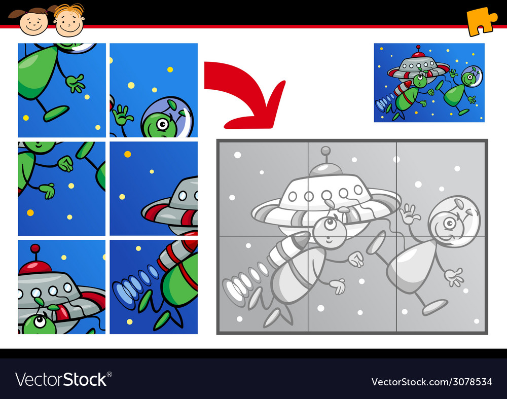 Cartoon aliens jigsaw puzzle game vector | Price: 1 Credit (USD $1)