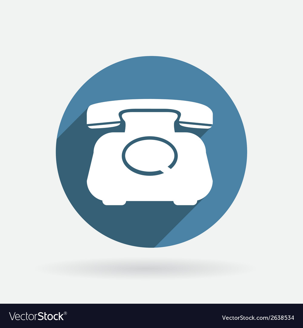 Classic retro phone circle blue icon vector | Price: 1 Credit (USD $1)