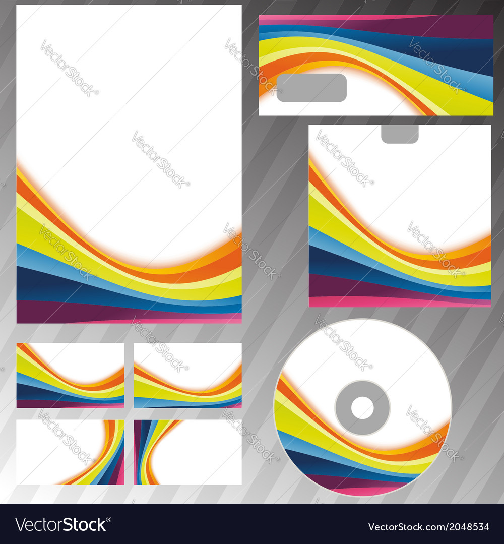 Corporate style rainbow stationery template vector | Price: 1 Credit (USD $1)