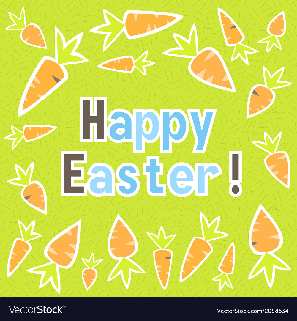 Easter carrots card on a green vector | Price: 1 Credit (USD $1)