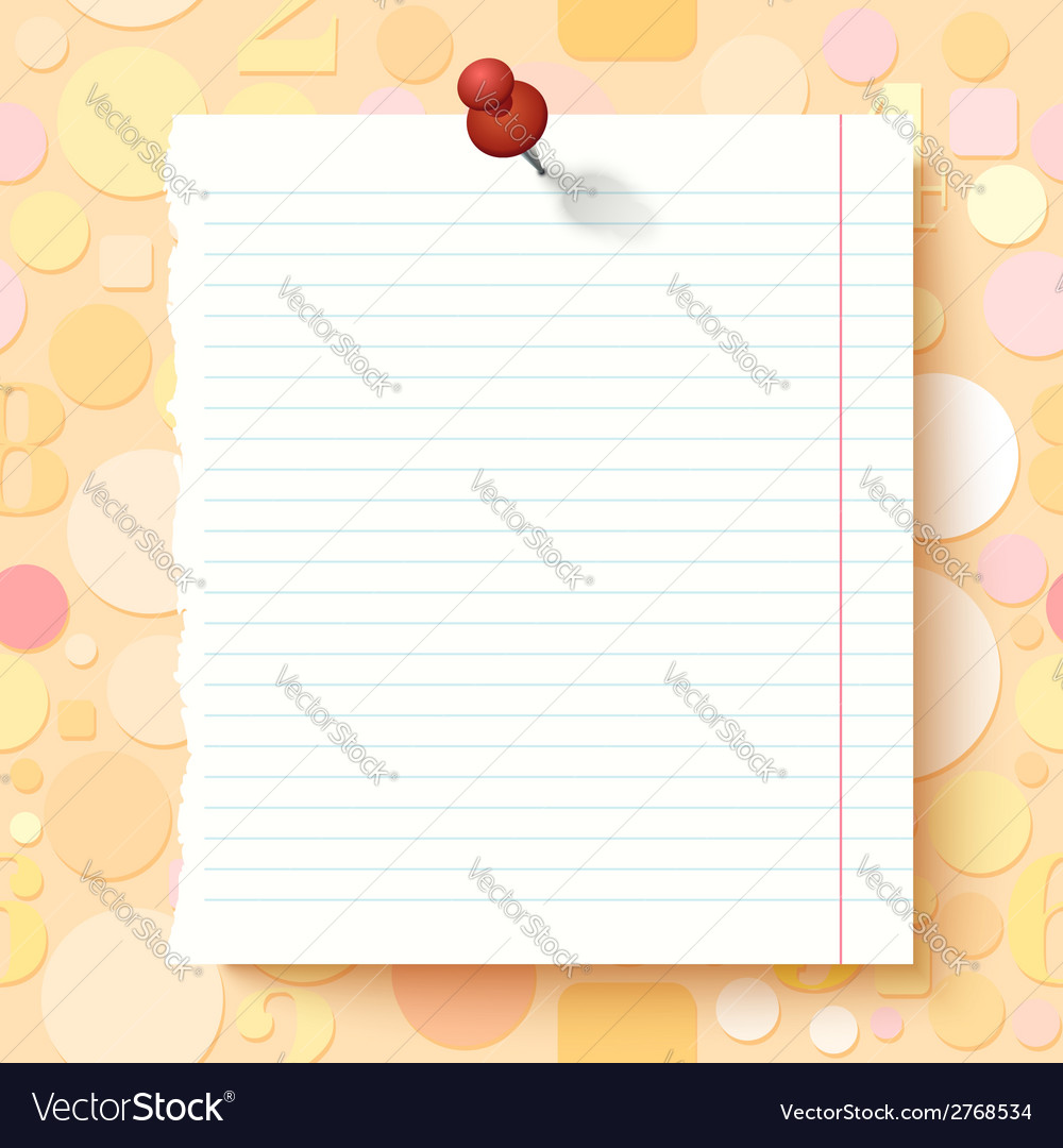Empty exercise book paper sheet on light vector | Price: 1 Credit (USD $1)