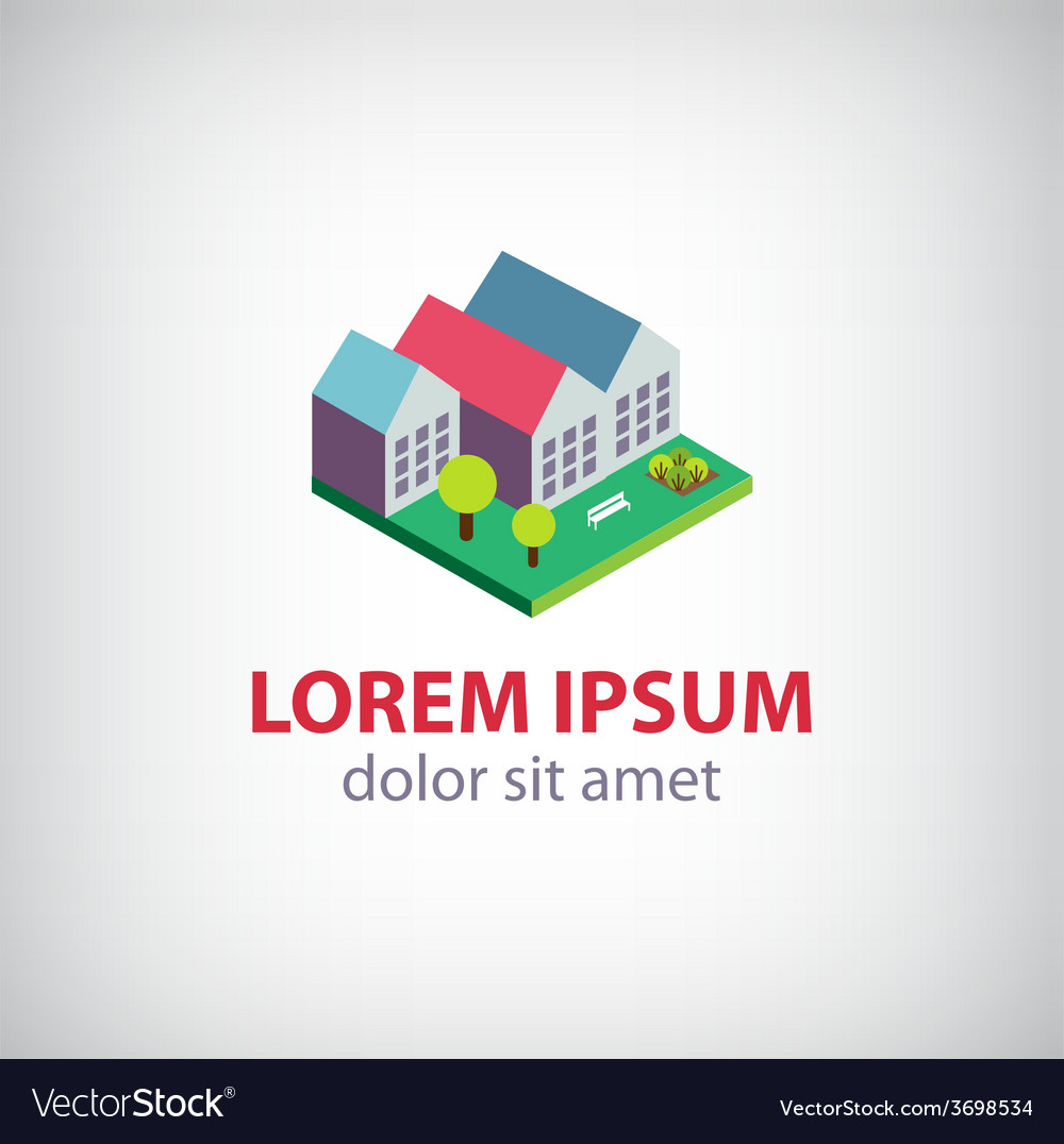 House 3d building icon logo isolated vector | Price: 1 Credit (USD $1)
