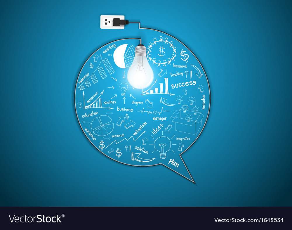 Light bulb with drawing business strategy plan vector | Price: 1 Credit (USD $1)