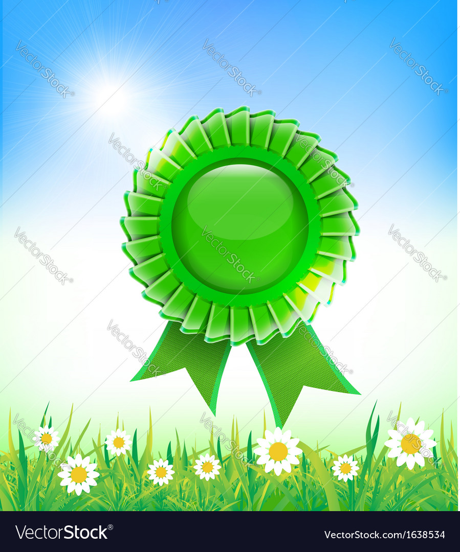 Natural green badge on grass background vector | Price: 1 Credit (USD $1)