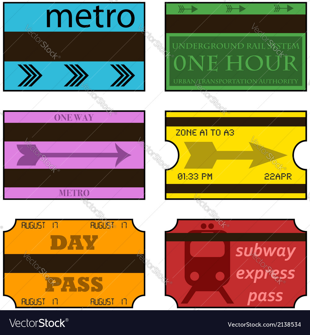 Retro subway tickets vector | Price: 1 Credit (USD $1)