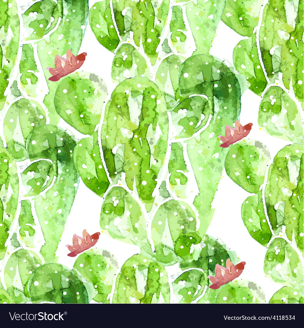 Seamles watercolor cactus background vector | Price: 1 Credit (USD $1)