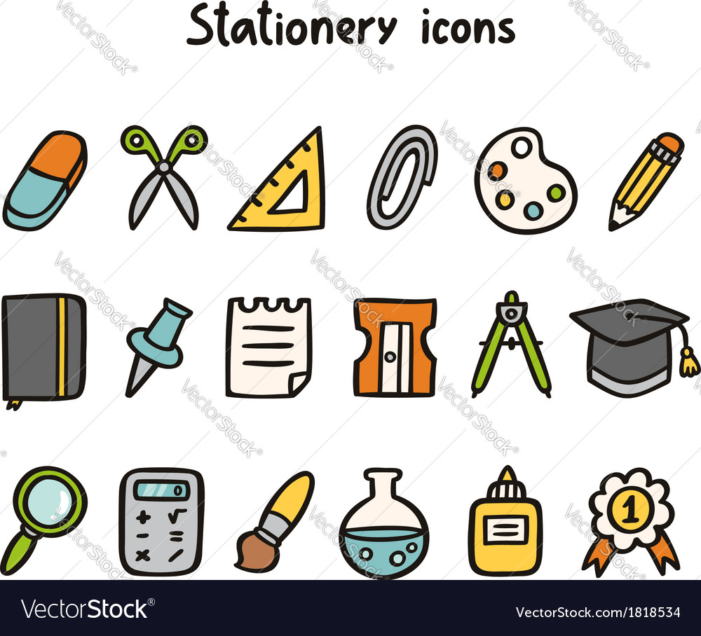 Stationery icons vector | Price: 1 Credit (USD $1)