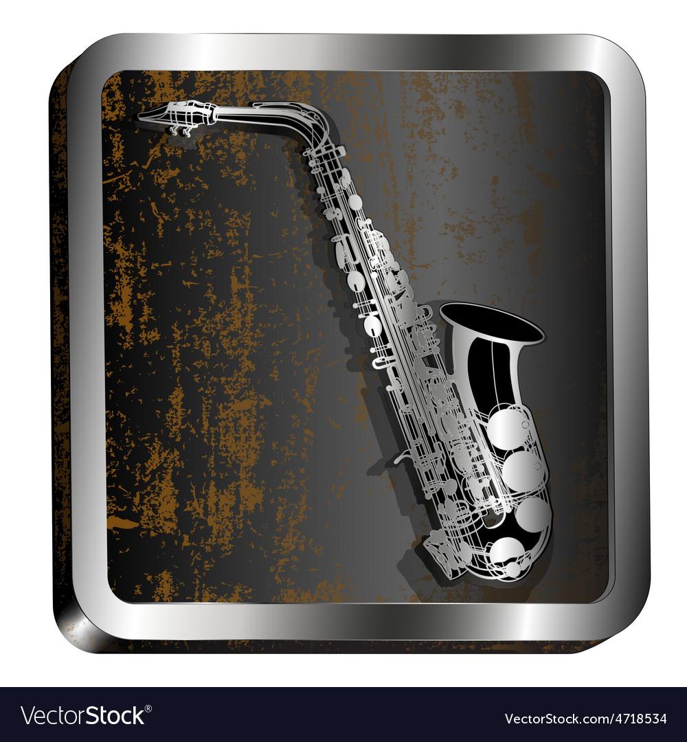 Steel icon saxophone engraving vector | Price: 1 Credit (USD $1)