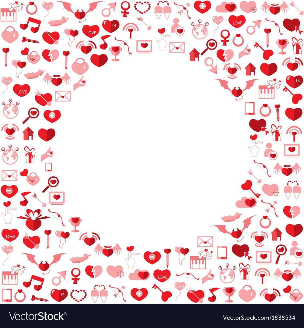 Template circle valentines day love icon vector | Price: 1 Credit (USD $1)