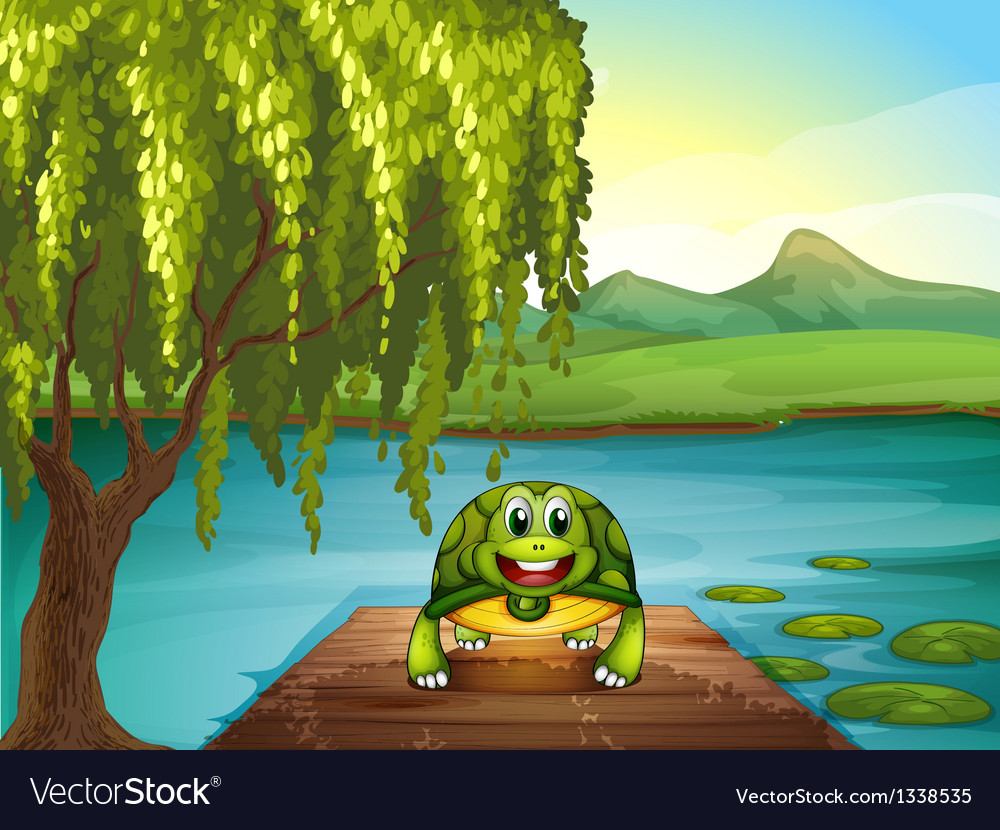 A smiling turtle along the pond vector | Price: 1 Credit (USD $1)