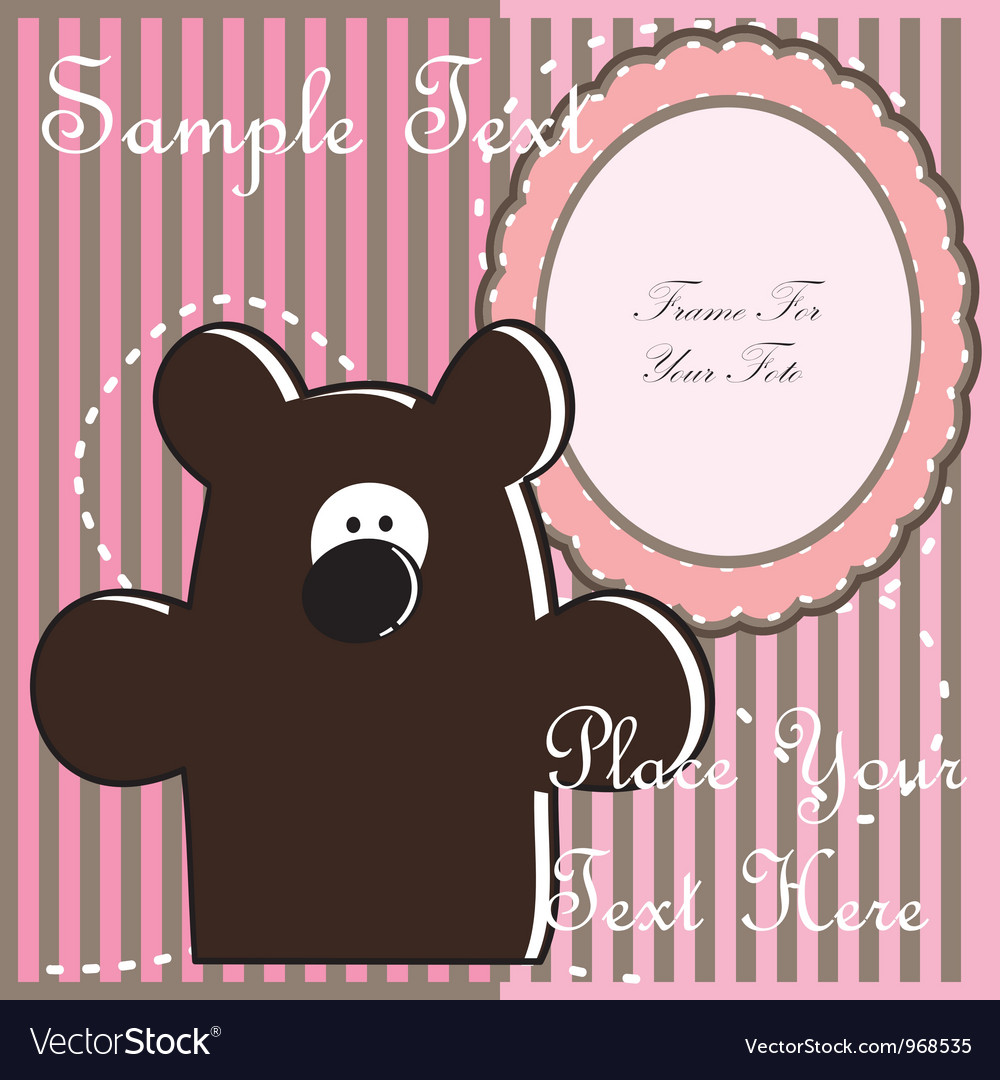 Baby postcard with bear vector | Price: 1 Credit (USD $1)