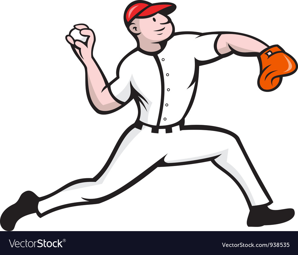 Baseball pitcher player throwing vector | Price: 3 Credit (USD $3)