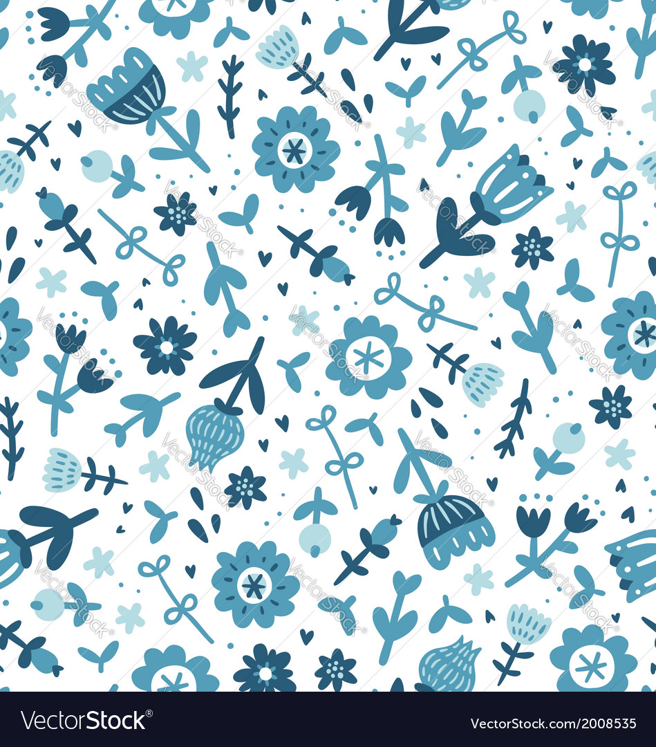 Blue floral print pattern vector | Price: 1 Credit (USD $1)