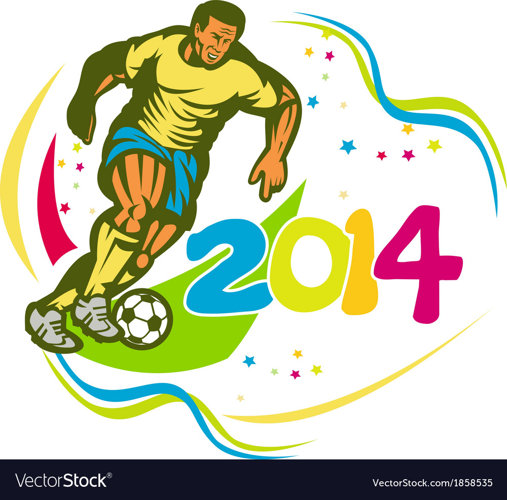 Brazil 2014 football player running ball retro vector | Price: 1 Credit (USD $1)