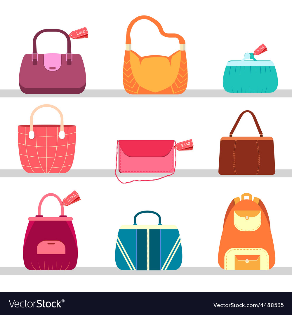 Elegance fashion handbags and bags in flat vector | Price: 1 Credit (USD $1)
