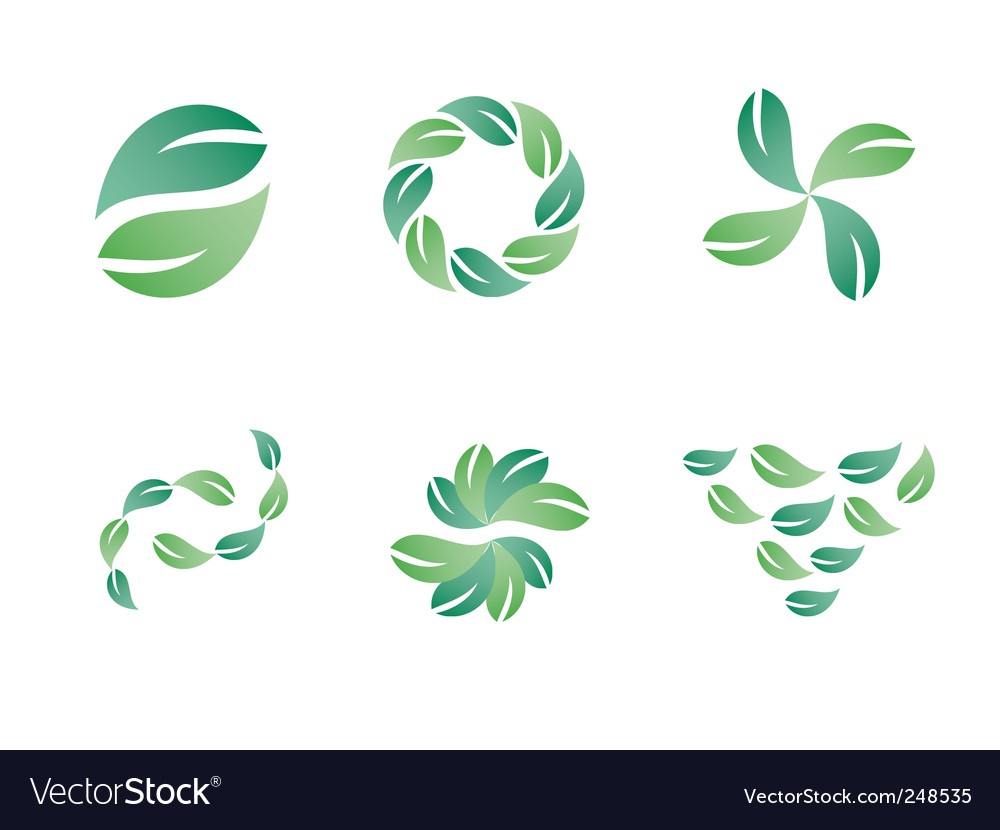 Green leaf logo designs vector | Price: 1 Credit (USD $1)