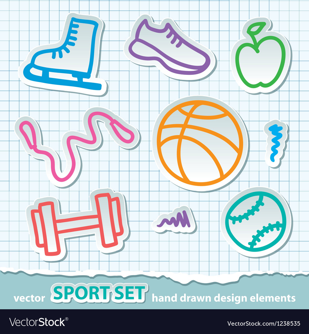 Hand drawn sport stickers eps 10 vector | Price: 1 Credit (USD $1)