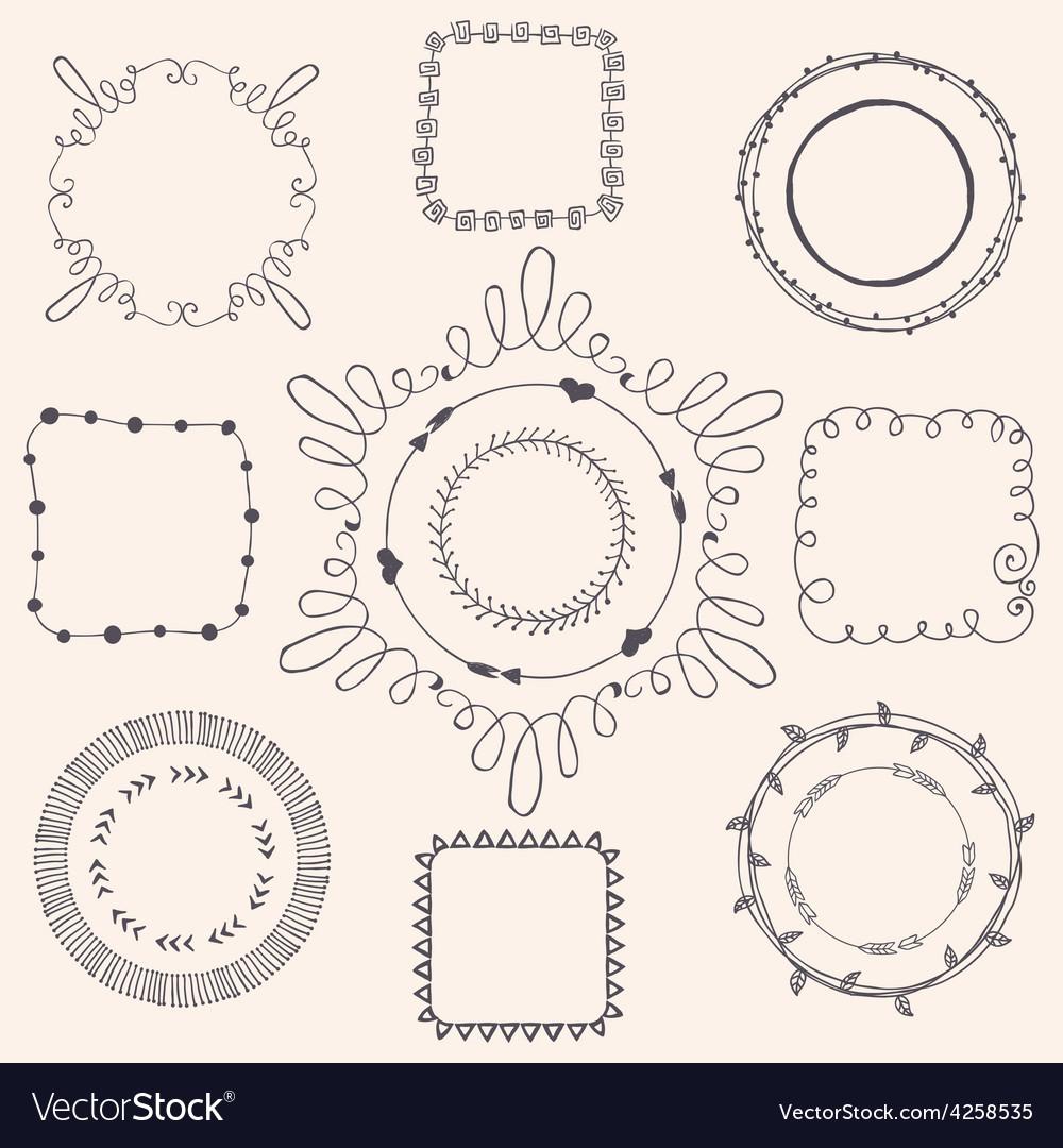 Handsketched doodle frames design elements vector | Price: 1 Credit (USD $1)