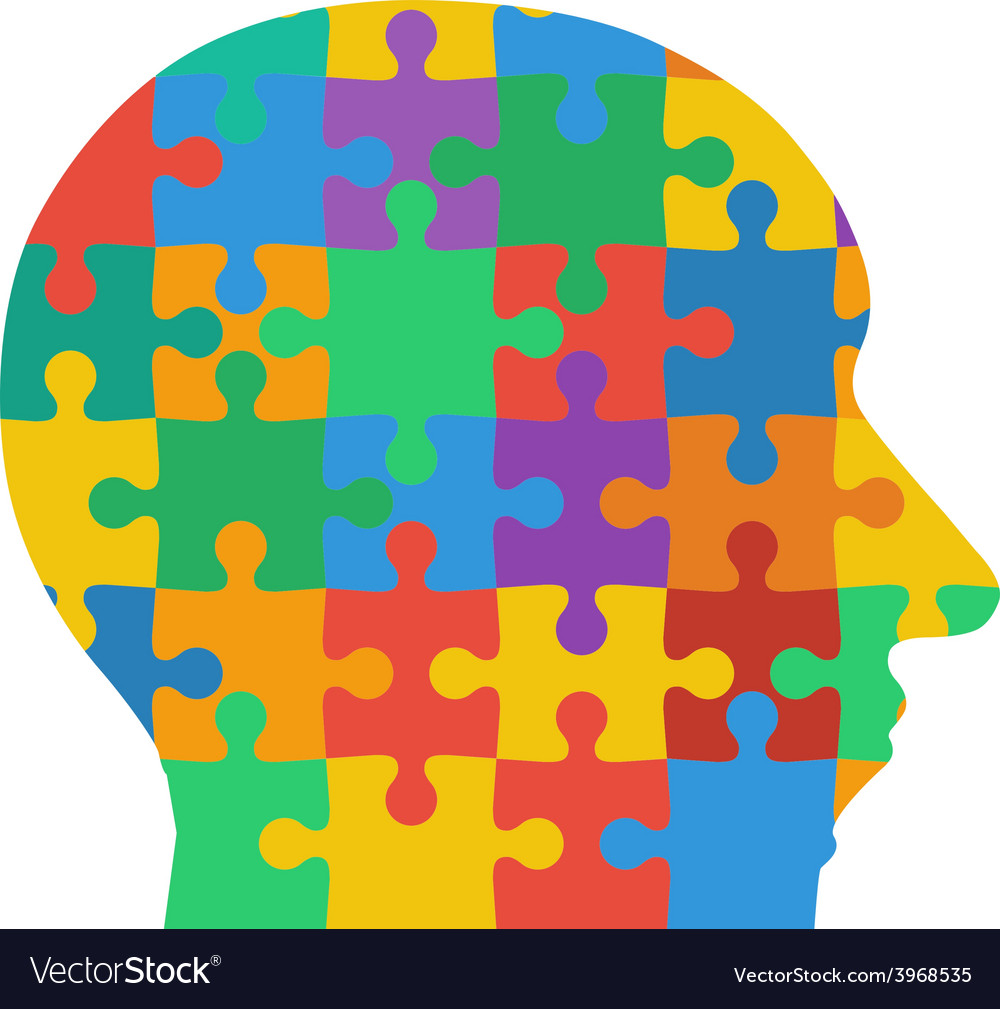 Jigsaw puzzle human head colored background vector | Price: 1 Credit (USD $1)
