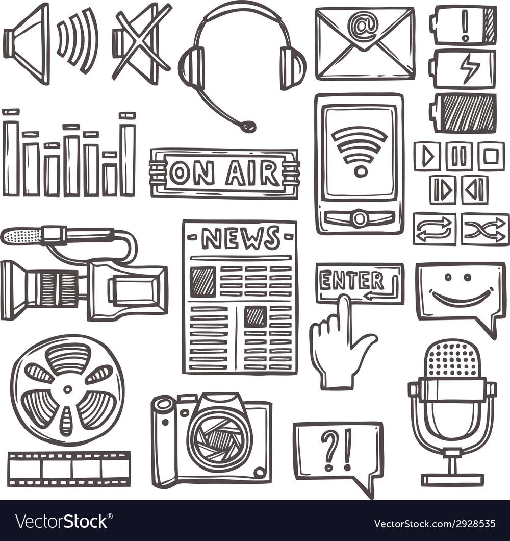 Media sketch icons set vector | Price: 1 Credit (USD $1)