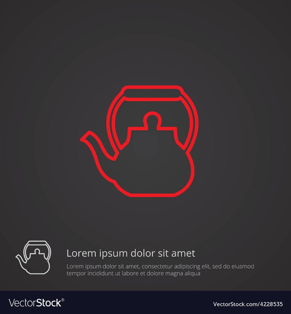 Teapot outline symbol red on dark background logo vector | Price: 1 Credit (USD $1)