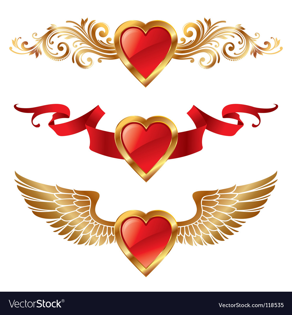 Valentines hearts with decor vector | Price: 1 Credit (USD $1)