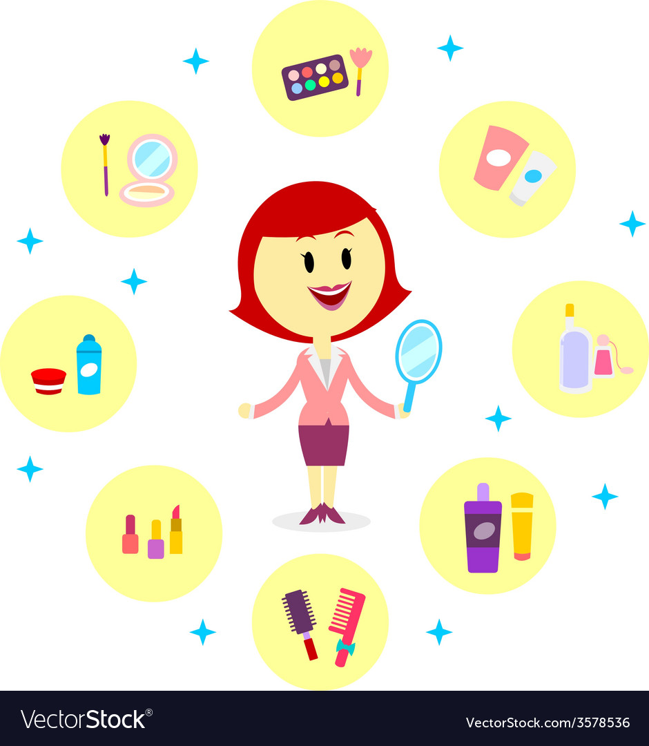 A woman with variety of cosmetic products vector | Price: 1 Credit (USD $1)