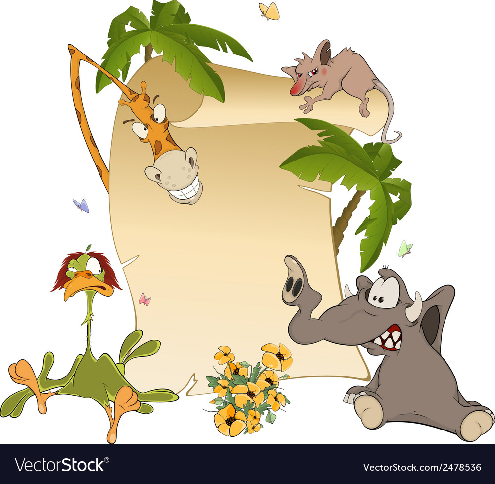 Animals with blank sign board cartoon vector | Price: 1 Credit (USD $1)