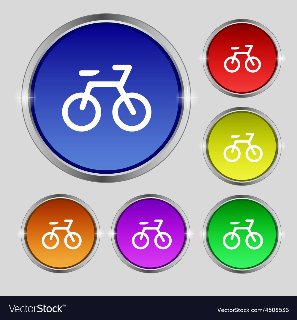 Bicycle icon sign round symbol on bright colourful vector | Price: 1 Credit (USD $1)