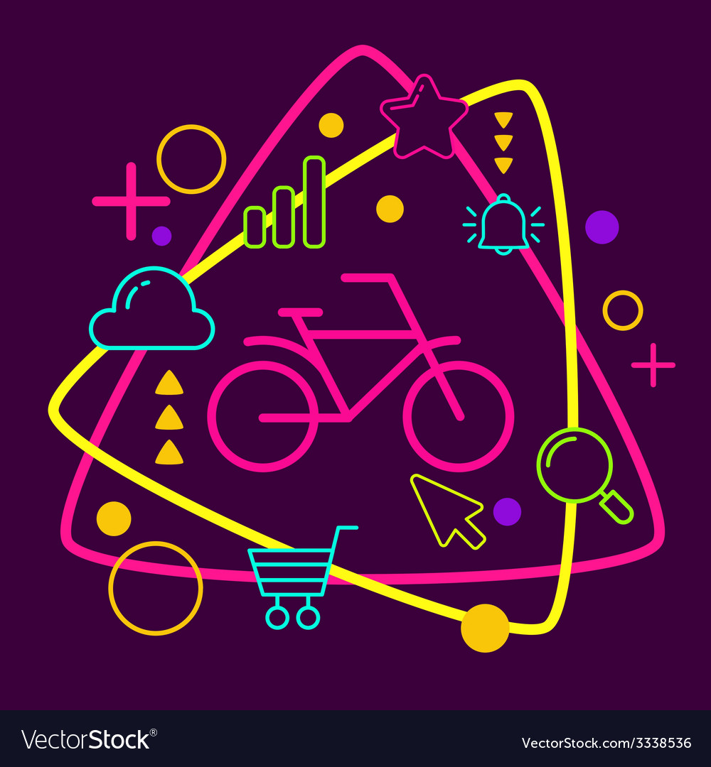 Bicycle on abstract colorful geometric dark vector | Price: 3 Credit (USD $3)