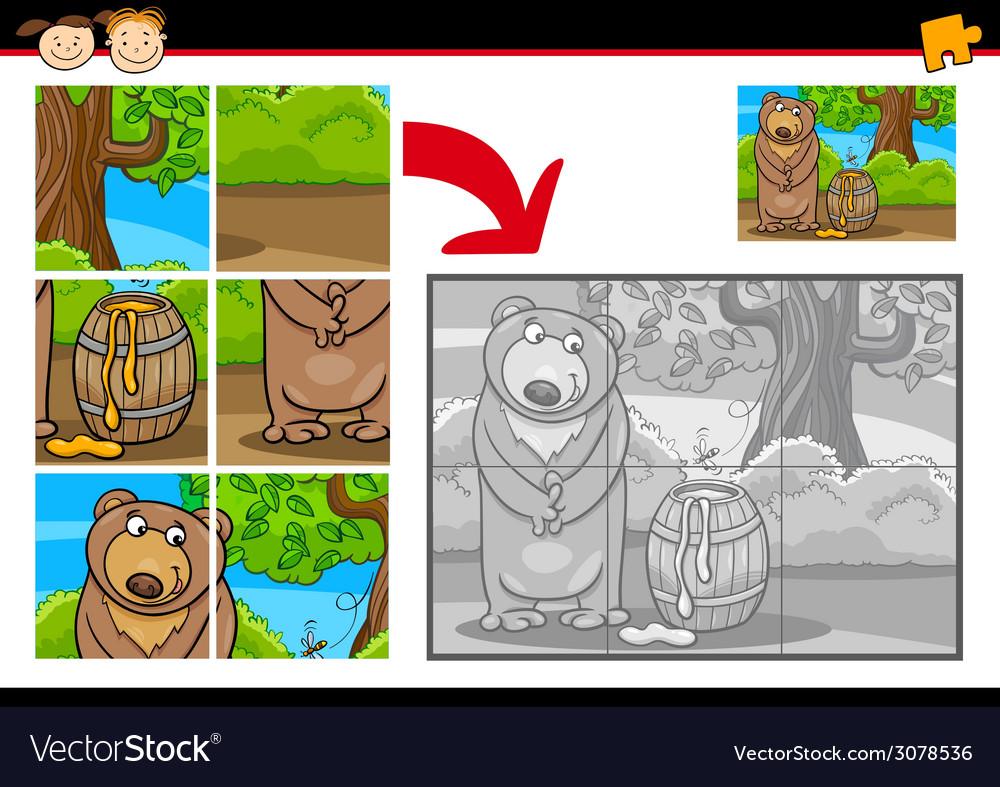 Cartoon bear jigsaw puzzle game vector | Price: 1 Credit (USD $1)