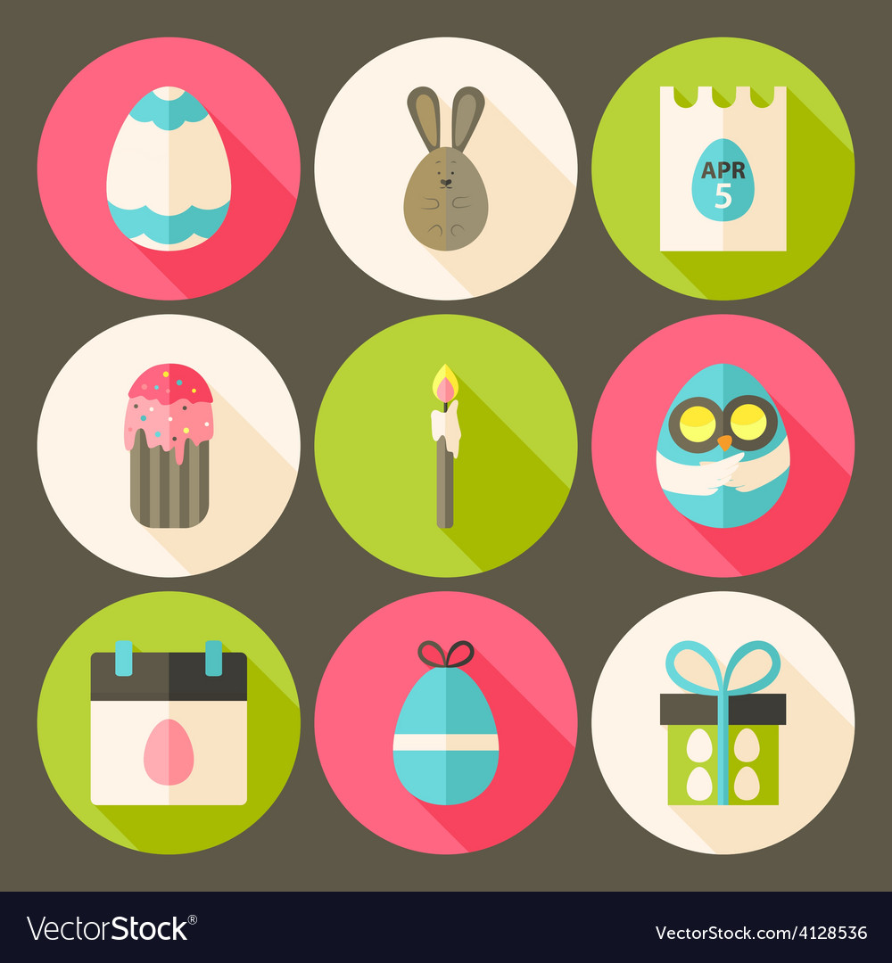 Easter flat styled circle icon set 3 with long vector
