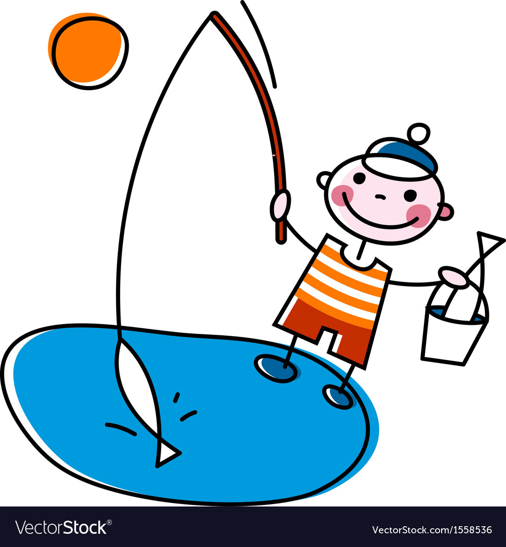 Fisherman with rod vector | Price: 1 Credit (USD $1)