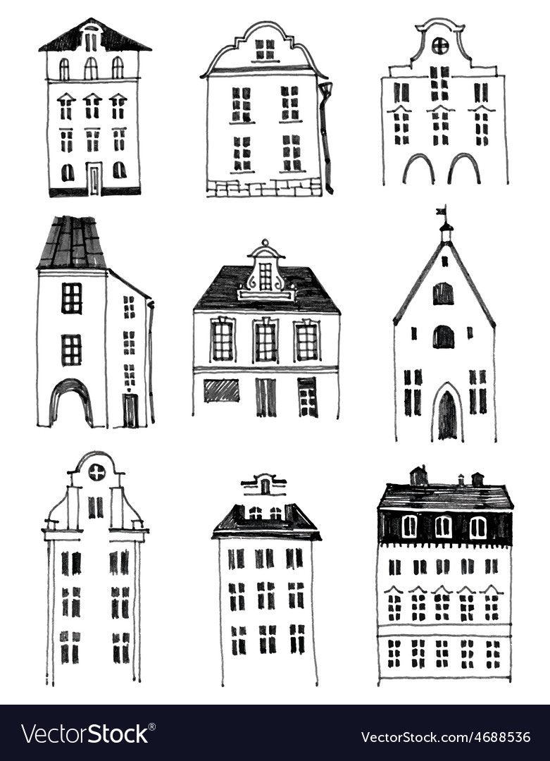 Hand drawn houses vector | Price: 1 Credit (USD $1)