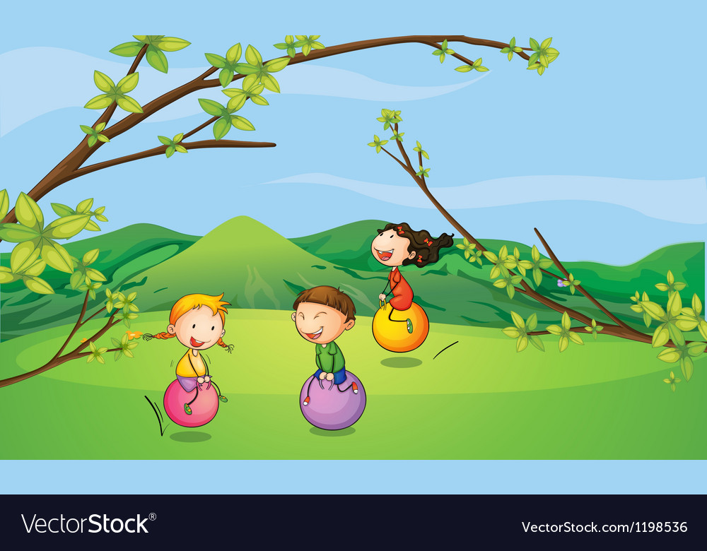 Happy kids playing with the bouncing balls vector | Price: 1 Credit (USD $1)
