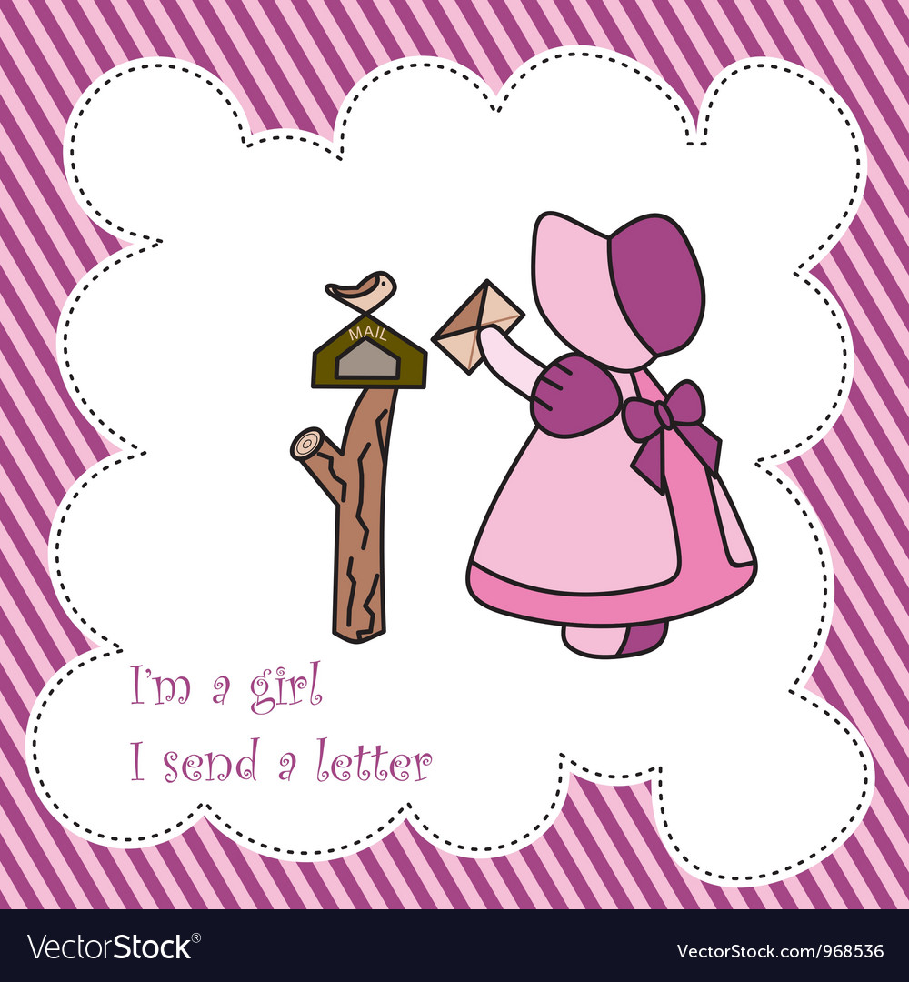 Little girl send letter card vector | Price: 1 Credit (USD $1)