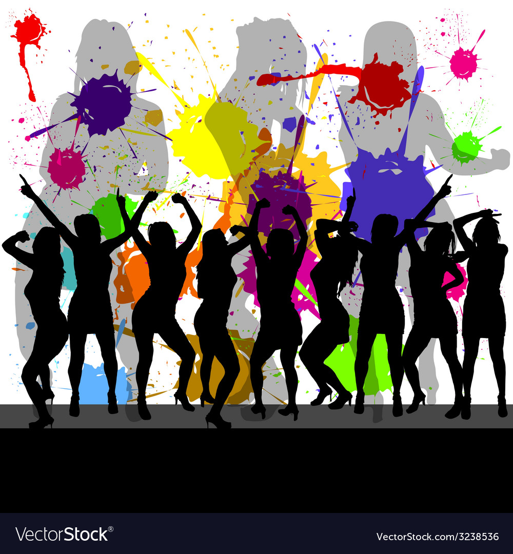 Party with girl silhouette and color background vector | Price: 1 Credit (USD $1)