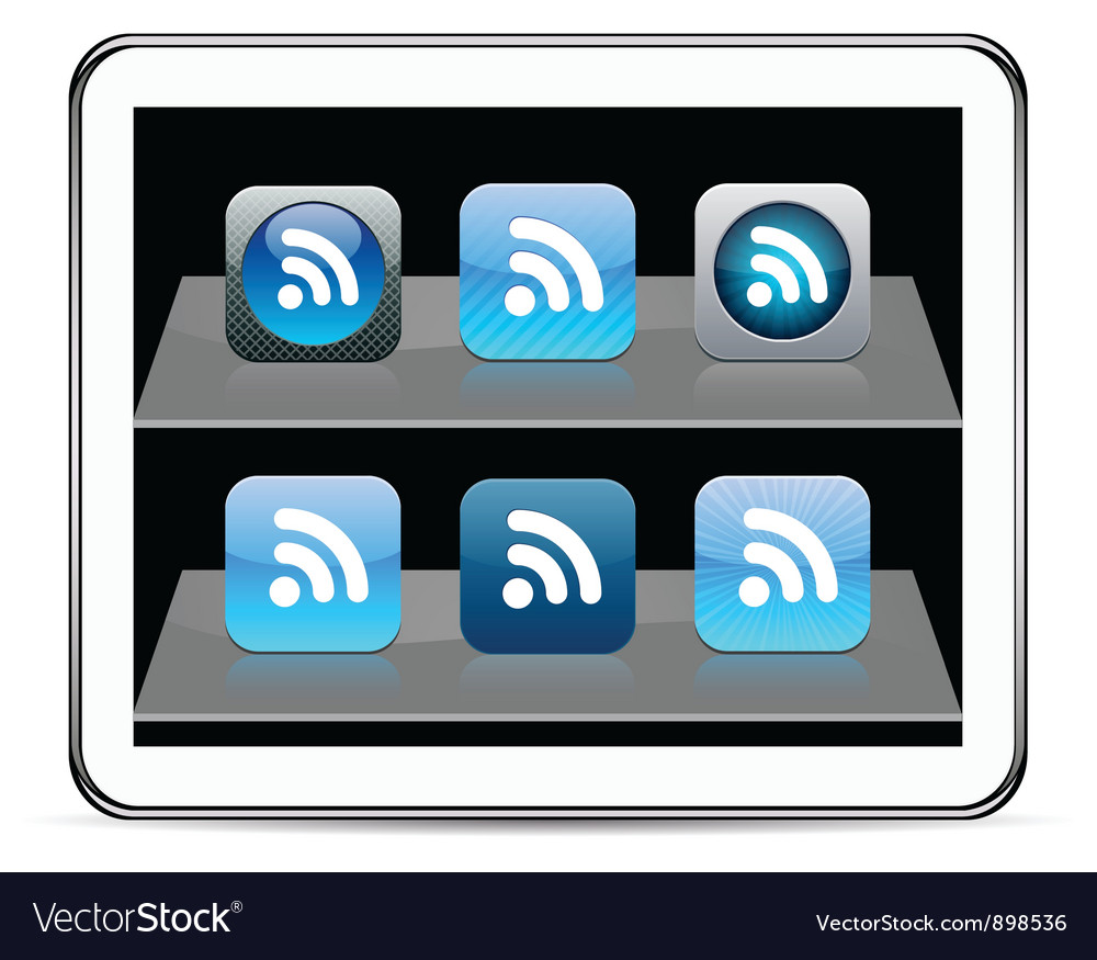 Rss blue app icons vector | Price: 1 Credit (USD $1)