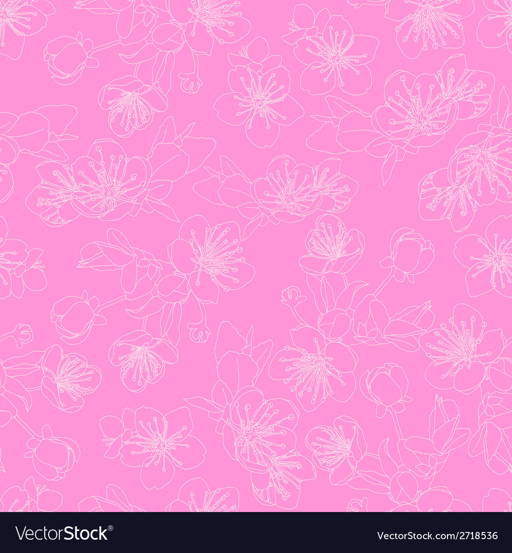 Seamless pattern with flowers of sakura vector | Price: 1 Credit (USD $1)