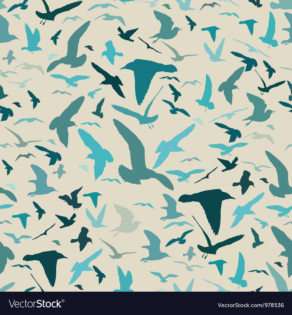 Seamless pattern with seagull silhouettes vector | Price: 1 Credit (USD $1)