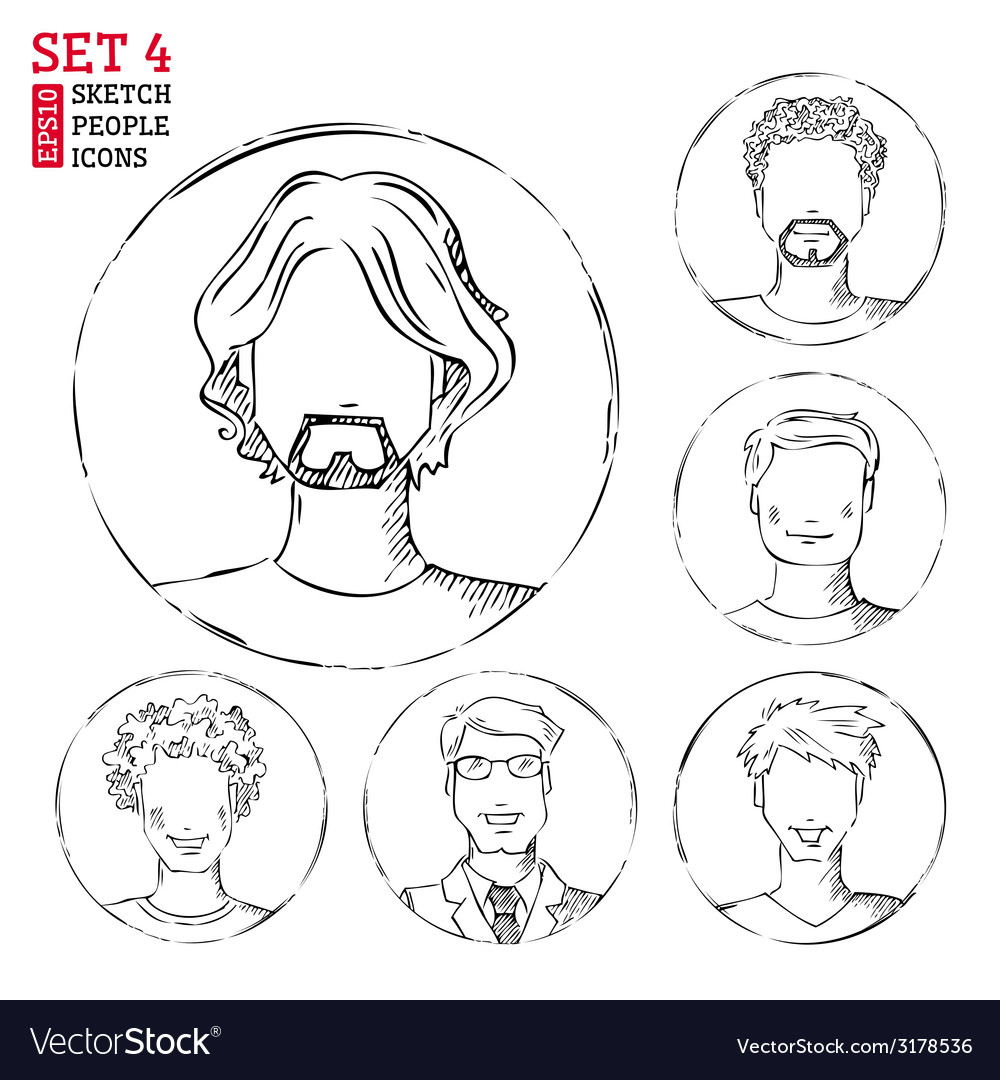 Sketch people icons vector | Price: 1 Credit (USD $1)