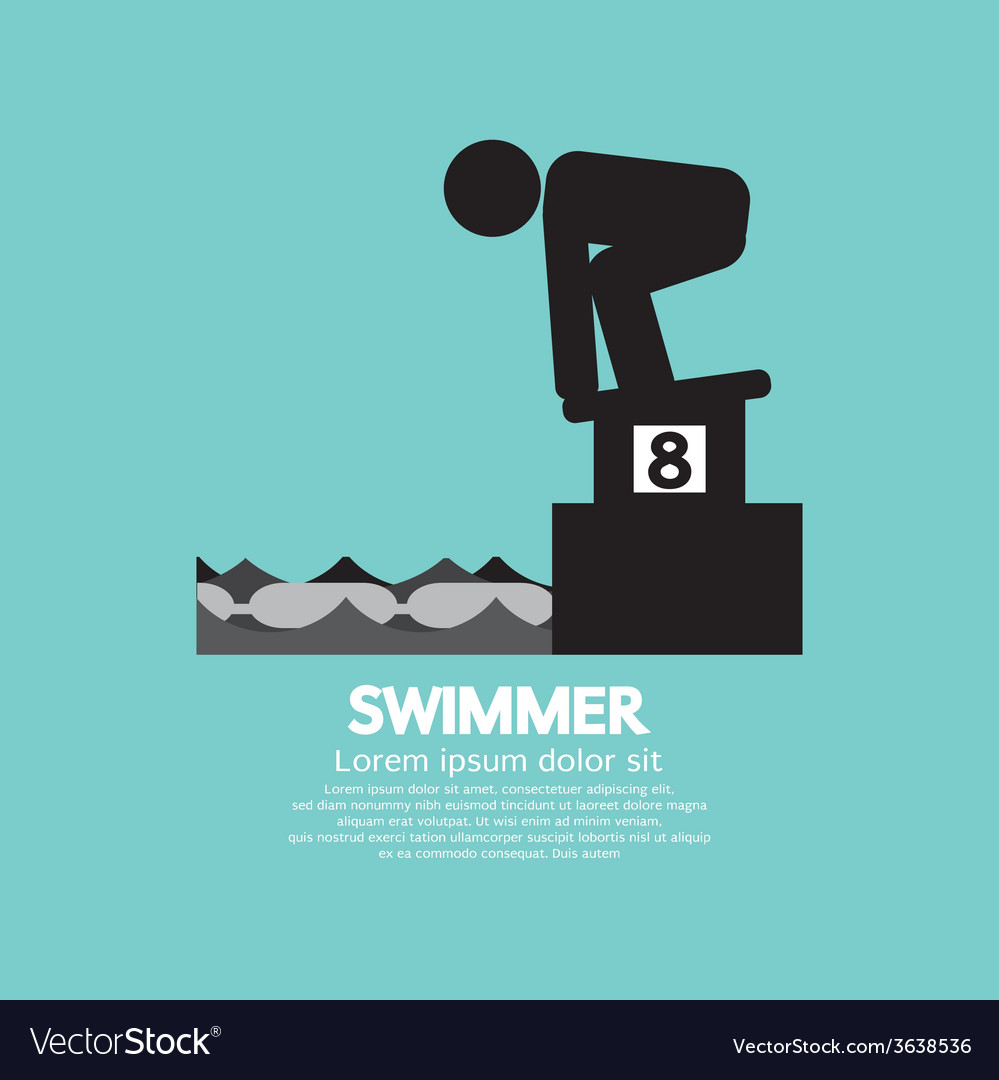Swimmer at starting block symbol vector | Price: 1 Credit (USD $1)