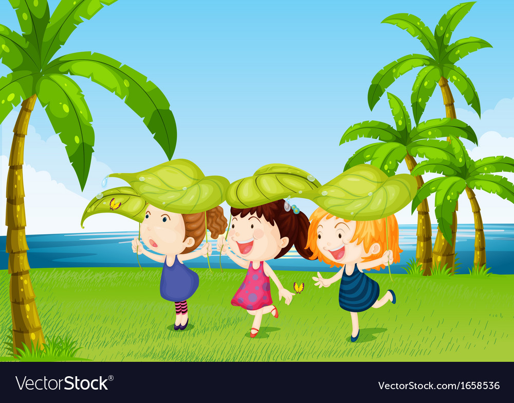 Three kids playing near the river vector | Price: 3 Credit (USD $3)
