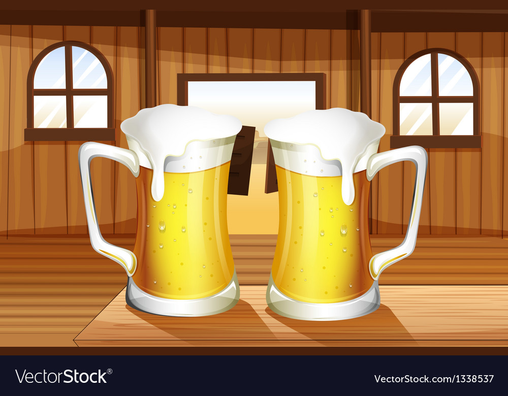 A table with two mugs of beer vector | Price: 1 Credit (USD $1)