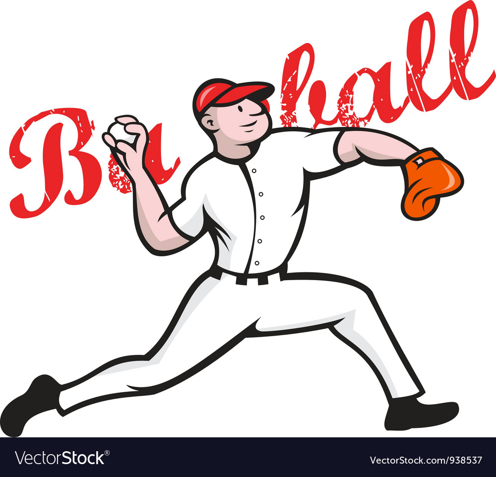 Baseball pitcher player cartoon vector | Price: 1 Credit (USD $1)