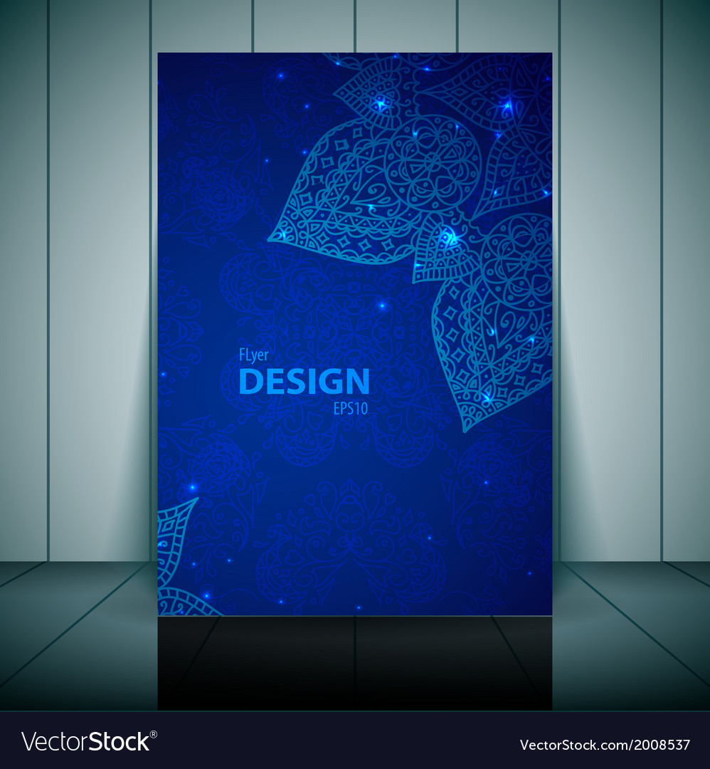 Blue business flayer template with indian ornament vector | Price: 1 Credit (USD $1)
