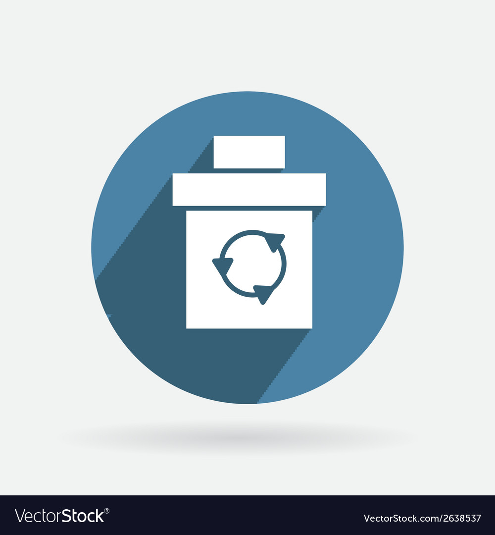 Circle blue icon with shadow basket garbage vector | Price: 1 Credit (USD $1)
